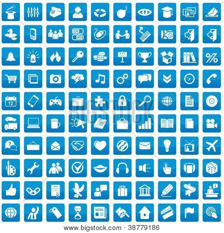 Set of 100 icons for each day. Media, web and business applications