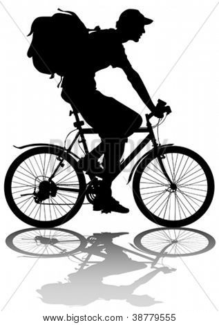 Vector drawing silhouette of a cyclist boy whit bag