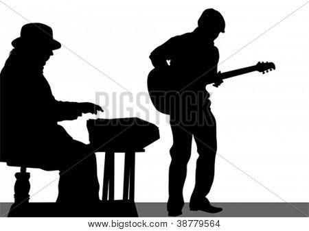 Vector drawing of a guitarist and a pianist on stage