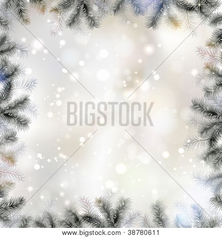 Shiny Christmas background with fir-tree frame