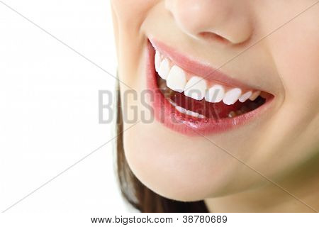 perfect smile with healthy tooth of cheerful teen girl isolated on white background