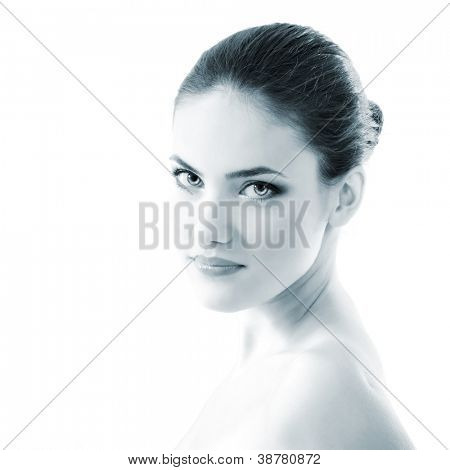young beautiful woman, female face closeup, toned light blue, isolated on white background