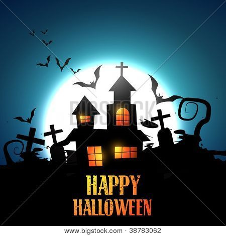 vector halloween haunted house design
