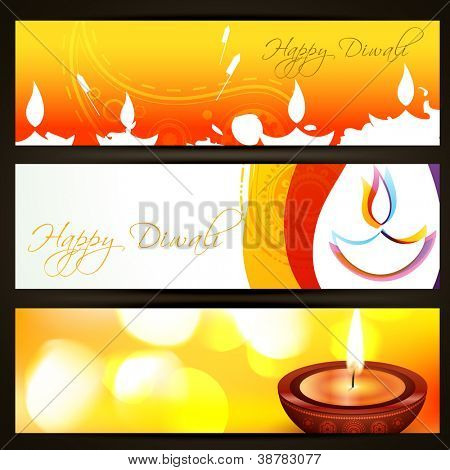 beautiful colorful set of diwali headers