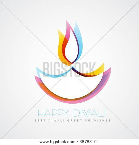 stylish colorful diwali diya isolated on white background