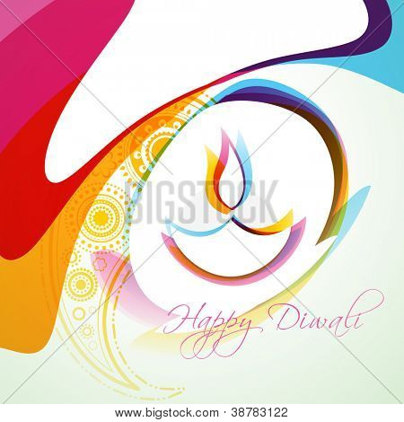 stylish colorful diwali diya vector background