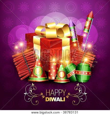 stylish diwali crackers with gift box design illustration