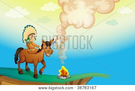 illustration of a boy riding a horse in nature