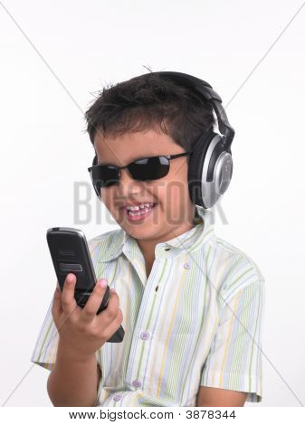 Asian Boy Of Indian Origin Talking In His Cell Phone