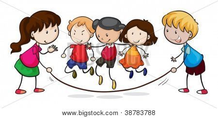 illustration of kids playing on a white background