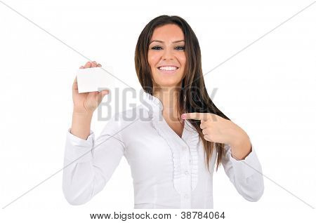Isolated young business woman shoing card