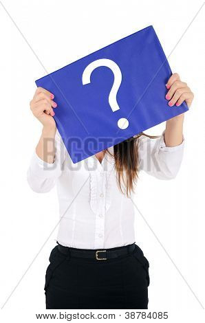 Isolated young business woman cover face