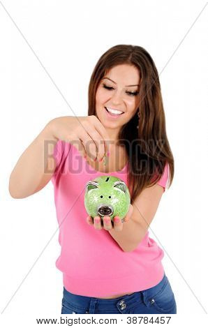 Isolated young casual woman with piggy