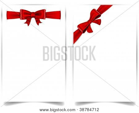 Blank paper background with red bow. Vector eps10.