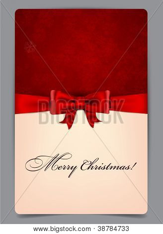 Christmas paper background with red bow. Vector eps10.