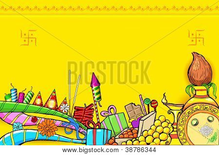 illustration of Diwali doodle with different object