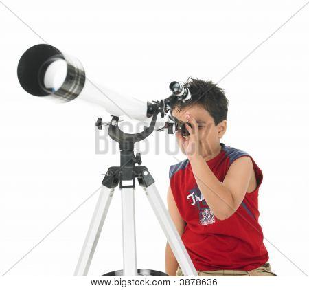 Boy Stargazing With His Professional Telescope