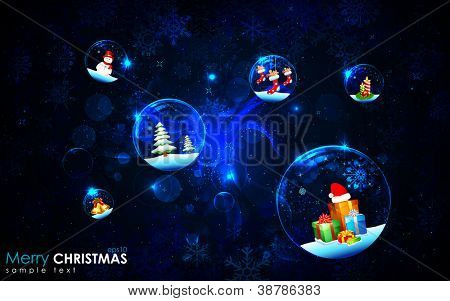 illustration of christmas decoration bubble on snowflake background