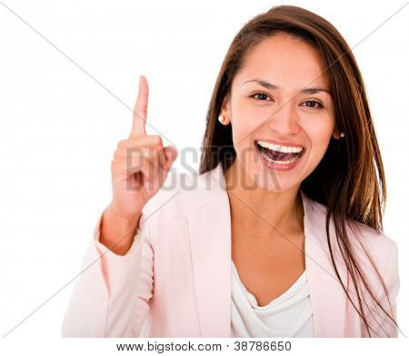 Excited business woman pointing up - isolated over white