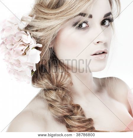 Closeup portrait of sexy white-headed young woman on white background