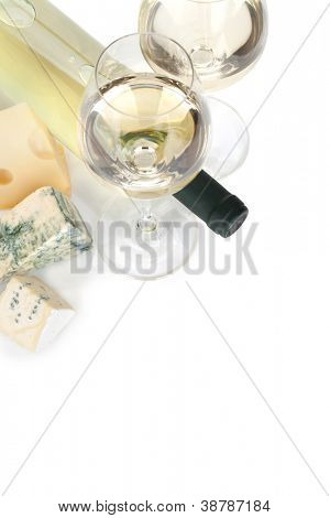White wine and cheese and. View from above. Isolated on white background