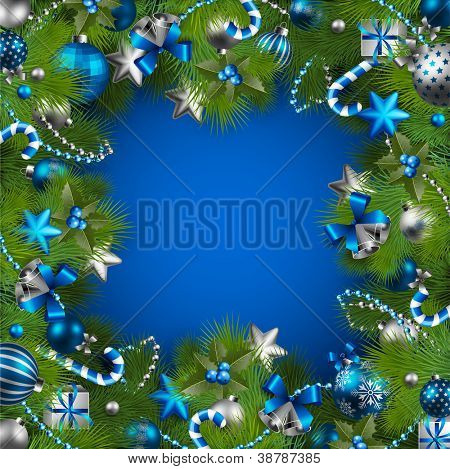 Christmas background with baubles and christmas tree. Check my portfolio for vector version.