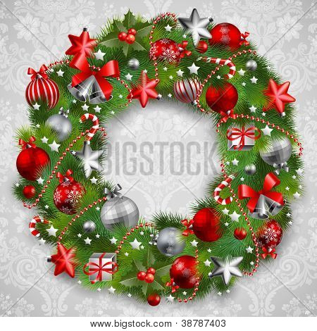 Christmas wreath with baubles and christmas tree. Check my portfolio for vector version.