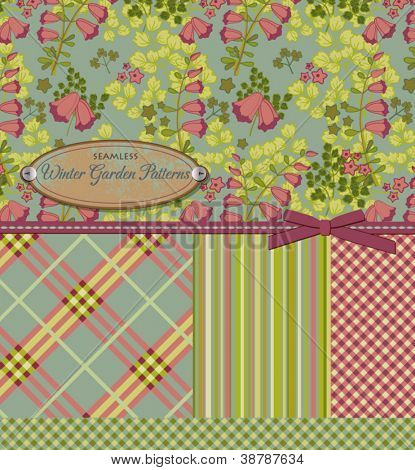 Vintage Patterns: Five Matching Seamless Patterns, including floral with lily of the valley, sourwood and bellflower, tartan, stripes and two sweet ginghams; matching ribbon, bow, and vintage label