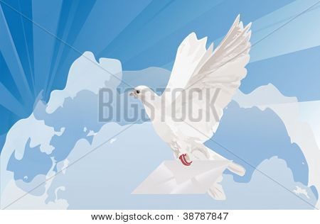 illustration with pigeon and mail on sky background