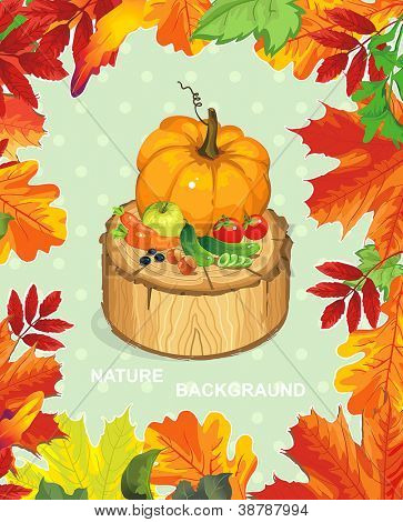 Polka dot design, autumn abstract floral background. Happy Thanksgiving beautiful card with Place for your text.