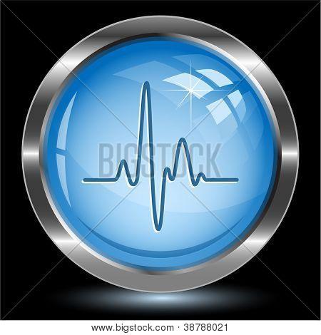 Cardiogram. Internet button. Vector illustration.