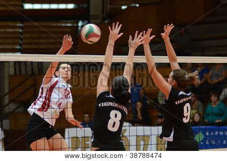 KAPOSVAR, HUNGARY - OCTOBER 7: Agnes Recsei (in white) in action at the Hungarian I. League volleyball game Kaposvar (white) vs Veszprem (black), october 7, 2012 in Kaposvar, Hungary.