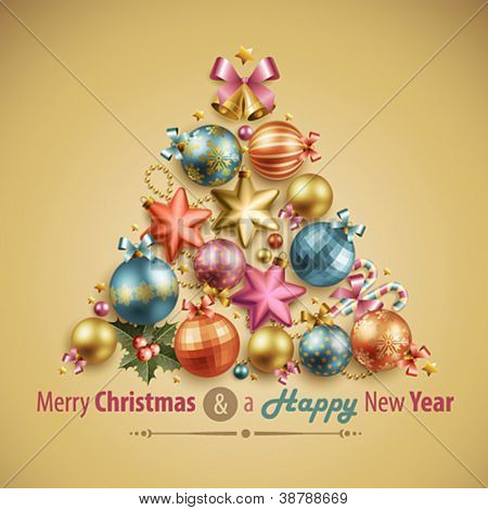 Christmas card with place for text. Vector illustration.