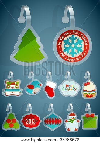 Set of Christmas stickers. Vector illustration.