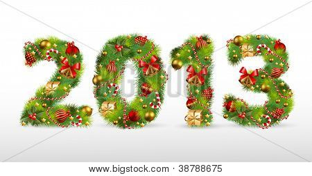 2013, Christmas tree font. Vector illustration.