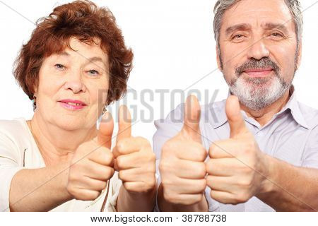 senior couple show thumb, good gesture, isolated