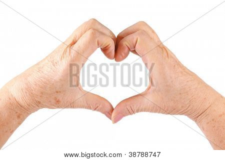 woman senior hands show heart gesture, isolated, white