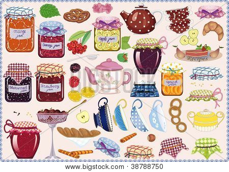 Tea collection of jam-jars, teacups, teapots, fruits and pastry