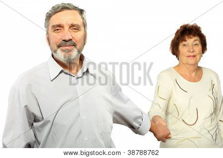 senior man hold hand of woman, isolated, focus on man, half body