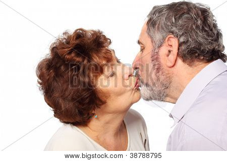 senior woman, man kiss, isolated