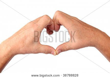 man senior hands show heart gesture, isolated