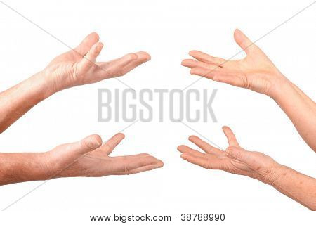 senior hands show hold on palms gesture, isolated