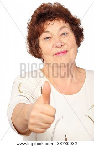 senior woman in dress show big finger, good gesture, isolated