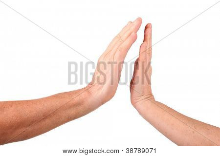 senior woman hand close up to man hand show palm gesture, isolated