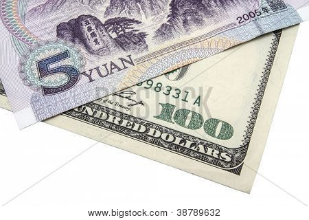 100 USD and 5 Yuan  isolated on white background