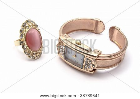 Fashion Watch and Ring isolated on white background