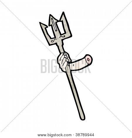 arm holding trident cartoon