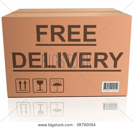 free delivery or package shipping order web shop shipment in cardboard box icon for online shopping ecommerce button