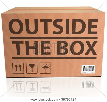 Outside the Box innovation, unconventional and creative thinking in solving a problem or brainstorming cardboard package