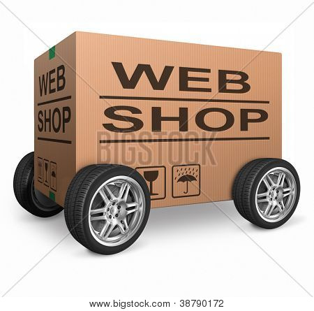 web shop cardboard box online shopping and placing order on internet package delivery worldwide brown post parcel